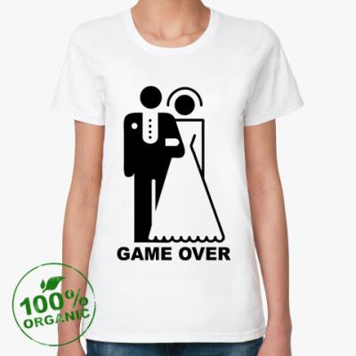 Женская футболка из органик-хлопка Game over для молодоженов