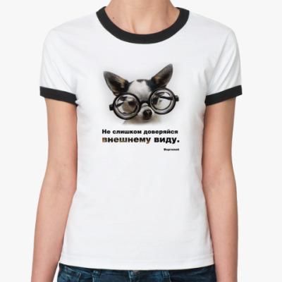 Женская футболка Ringer-T Пёс в очках
