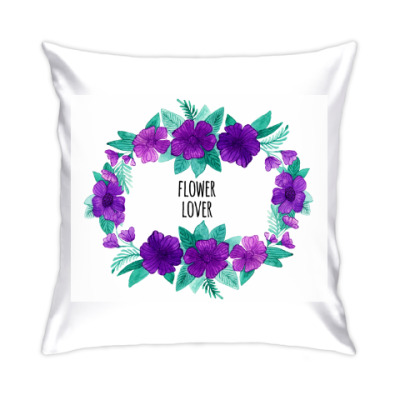 Подушка Венок акварель Flower lover
