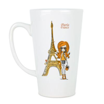 Чашка Латте Париж,девушка