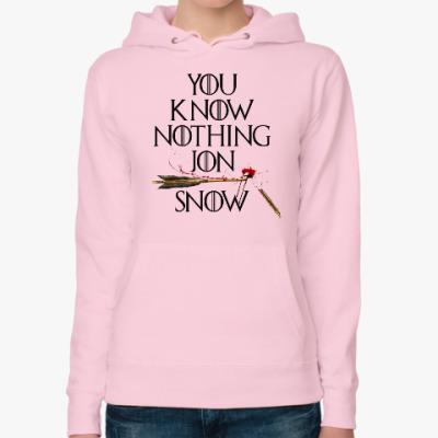 Женская толстовка худи You Know Nothing Jon Snow. Игра Престолов
