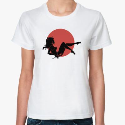 Классическая футболка Ведьма на метле, полнолуние