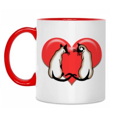Кружка Влюбленные сиамы