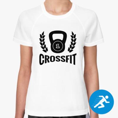 Женская спортивная футболка Кроссфит логотип с гирей