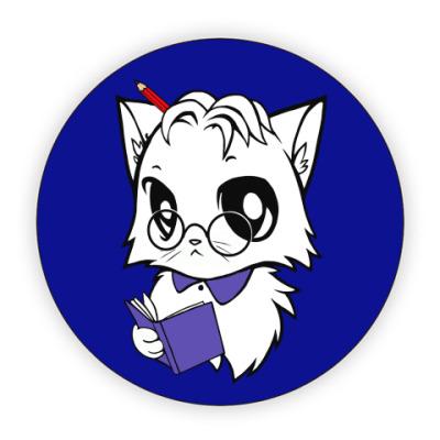 Костер (подставка под кружку) Белый кот ботаник