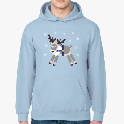 Толстовка худи Reindeer and snowflakes