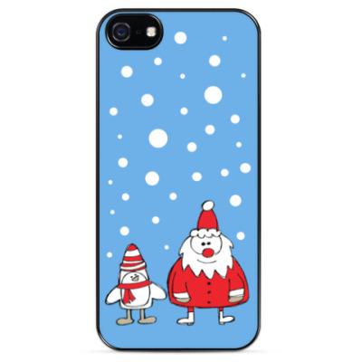 Чехол для iPhone Дед Мороз и Пингвин