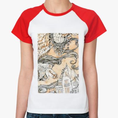 Женская футболка реглан  Алиса в Стране чудес