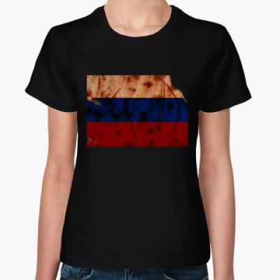 Женская футболка Russian flag
