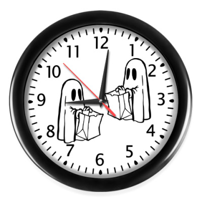 "Настенные часы Часы, черные (черные цифры) ""НЕДОБРЫЙ ДЕДЛАЙН"""
