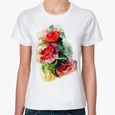 Классическая футболка Роскошные пионы