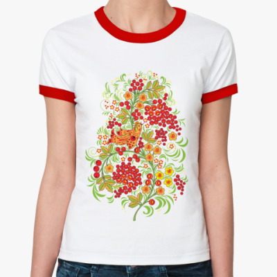 Женская футболка Ringer-T   'Рябиновый куст'
