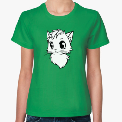 Женская футболка Белый кот new