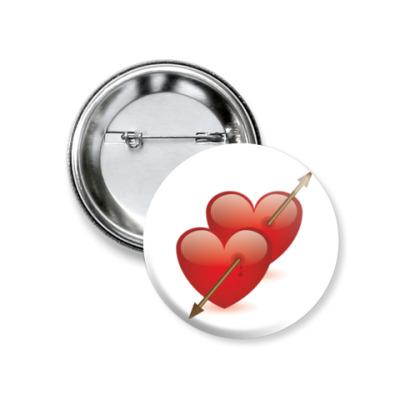 Значок 37мм Два сердца