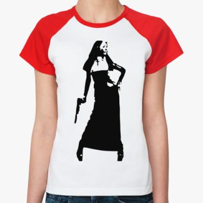 Женская футболка реглан агрессивная монашка