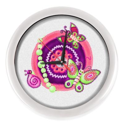 Настенные часы Бабочки-черепушки. Мексика.