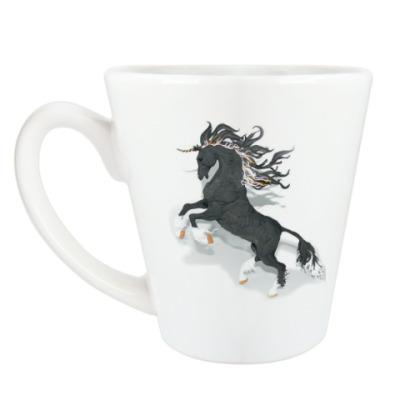 Чашка Латте Черный конь с рогом