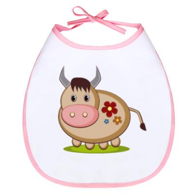 Слюнявчик Корова на лугу