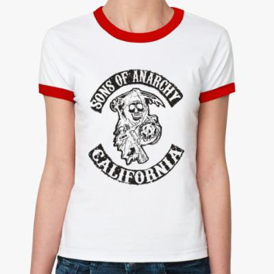 Женская футболка Ringer-T Сыны Анархии - Калифорния