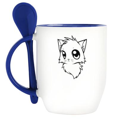 Кружка с ложкой Белый и Черный кот