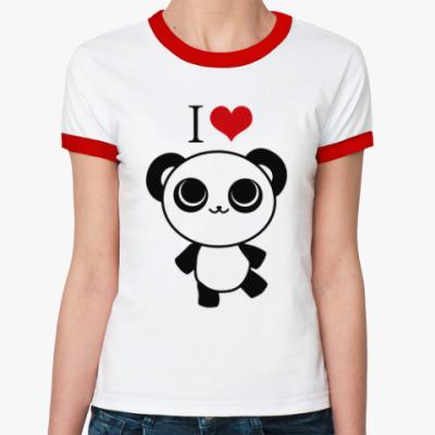 Женская футболка Ringer-T Я люблю панд