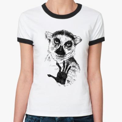 Женская футболка Ringer-T Узбагойся