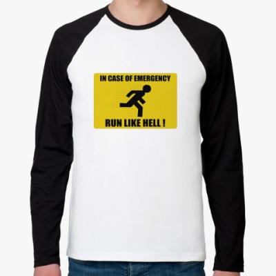Футболка реглан с длинным рукавом run like hell
