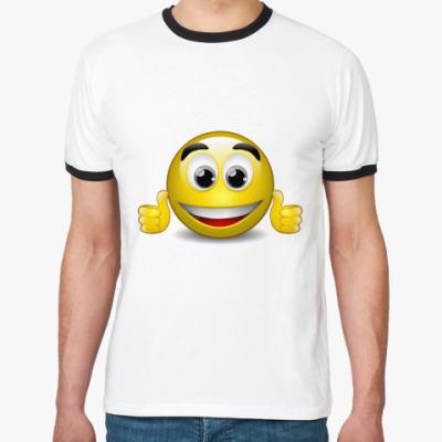Футболка Ringer-T радостный  смайлик