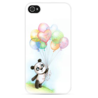 Чехол для iPhone Панда и шарики