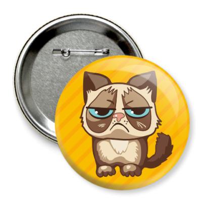Значок 75мм Угрюмый кот Тард - Grumpy Cat