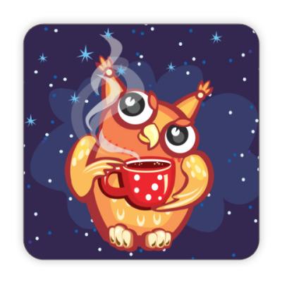 Костер (подставка под кружку) Сова с чаем и снежинками
