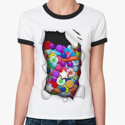 Женская футболка Ringer-T Конфеты