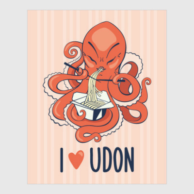 Постер I love udon