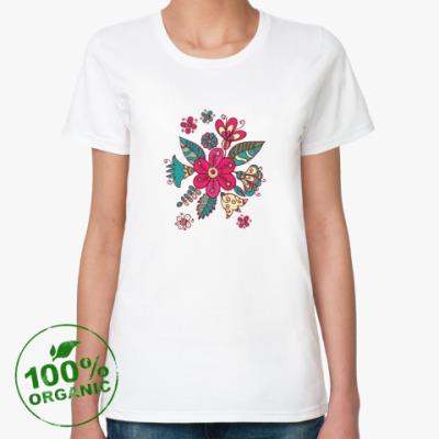 Женская футболка из органик-хлопка Цветы