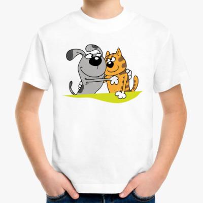 Детская футболка Собака и кот дружат