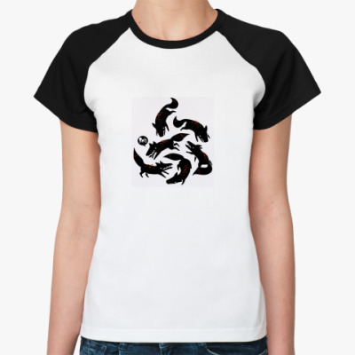Женская футболка реглан  Жен. Лиса