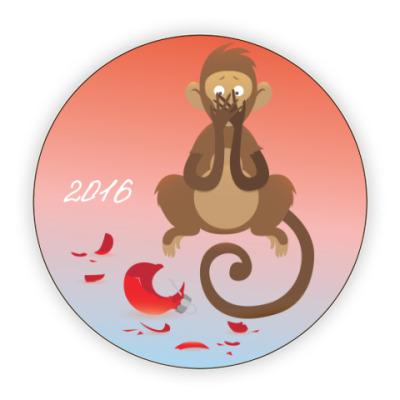 Костер (подставка под кружку) Обезьянка Доброго Нового 2016 года