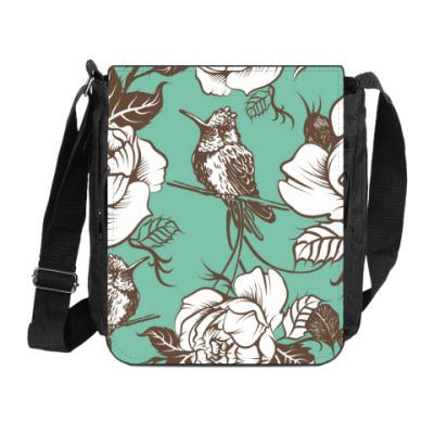 Сумка на плечо (мини-планшет) Колибри среди цветов
