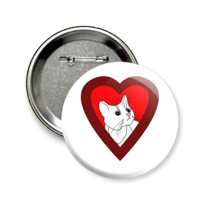 Значок 58мм Люблю кошек
