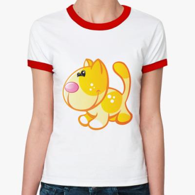 Женская футболка Ringer-T Рыжий кот приносит счастье