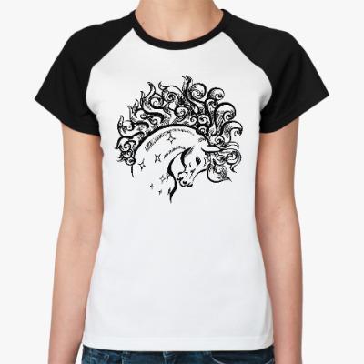 Женская футболка реглан Конь-огонь