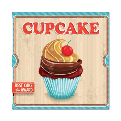 Наклейка (стикер) Cupcake: best cake award