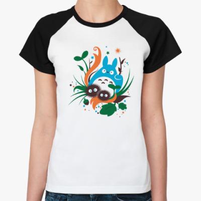 Женская футболка реглан Веселый Тоторо