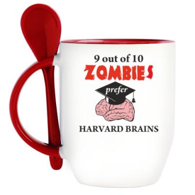 Кружка с ложкой Harvard Brains