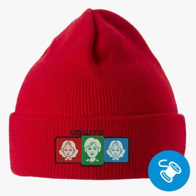 Вязаная шапка с подворотом, красная (вышивка) Вышивла лого UGW на шапке