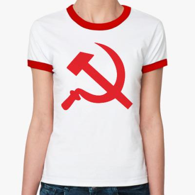Женская футболка Ringer-T Серп и молот - СССР