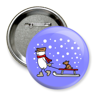 Значок 75мм Снеговик и Собака в Новый год