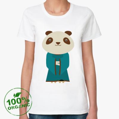 Женская футболка из органик-хлопка Панда в кимоно