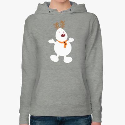 Женская толстовка худи Олень - снеговик