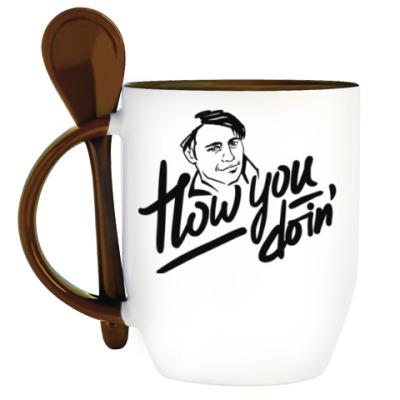 Кружка с ложкой How you doin'? Джо Триббиани